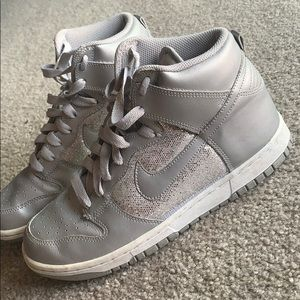 Silver Sparkle Nike High Tops